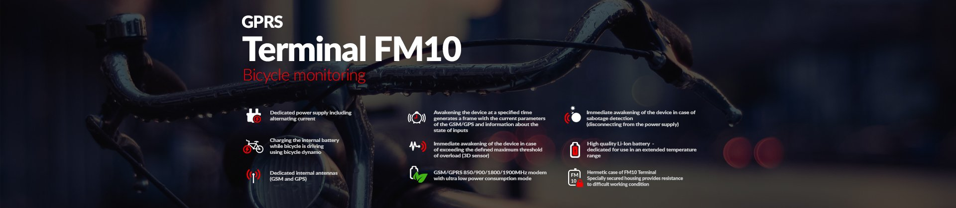 GPRS Terminal FM10 - monitoring bicycles